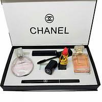Уникальный набор Chanel 5 в 1: парфюм, духи, помада, тушь, карандаш, косметичний набір, фото 1