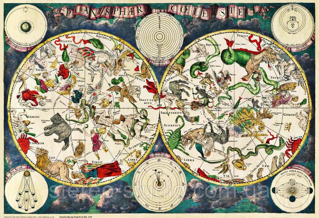 Небесная карта 17-го века Фредерика  Де Вита