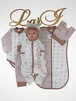 """Набор для новорожденных """"Стиляжка"""" с боди - 6 предметов (коричневый), фото 1"""