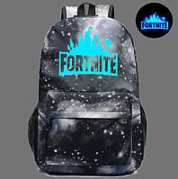 Рюкзак Фортнайт с люминесцентной надписью Fortnite Черно-Белая Галактика 45x31x18 см