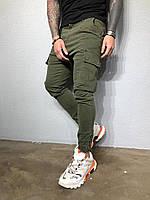 Стильные мужские джинсы хаки с карманами