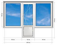 """Балконный блок """"Чебурашка"""" ПВХ Rehau Euro-70, энергосберегающий 5-этажка """"Хрущевка"""" 2000х2100 мм"""