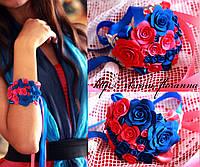 """""""Розово-синие розы"""" браслет с цветами на руку для девушки"""