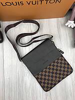 Мужская сумка Louis Vuitton через плечо коричневая в клетку