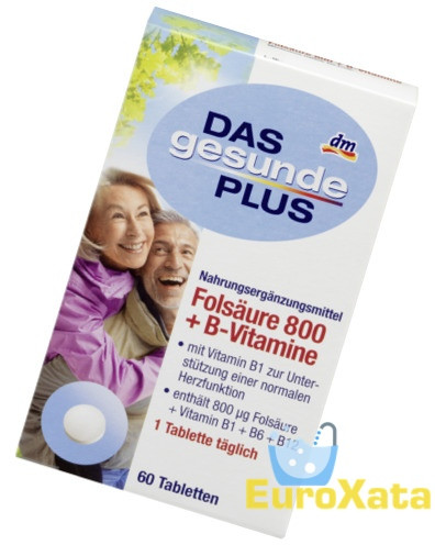 БАД Das Gesunde Plus Фолиевая кислота 800 + витамины В1, В6, В12 (60 шт) Германия