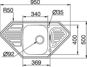Кухонная мойка PYRAMIS MEDUSA CORNER 1B 2D Linen (92 mm), фото 2