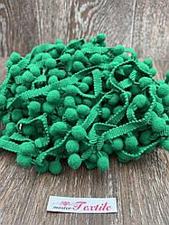 Тесьма с помпонами 10 мм трава