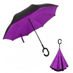 Зонт обратного сложения антизонт ветрозащитный д110см 8сп MHZ WHW17133 Purple