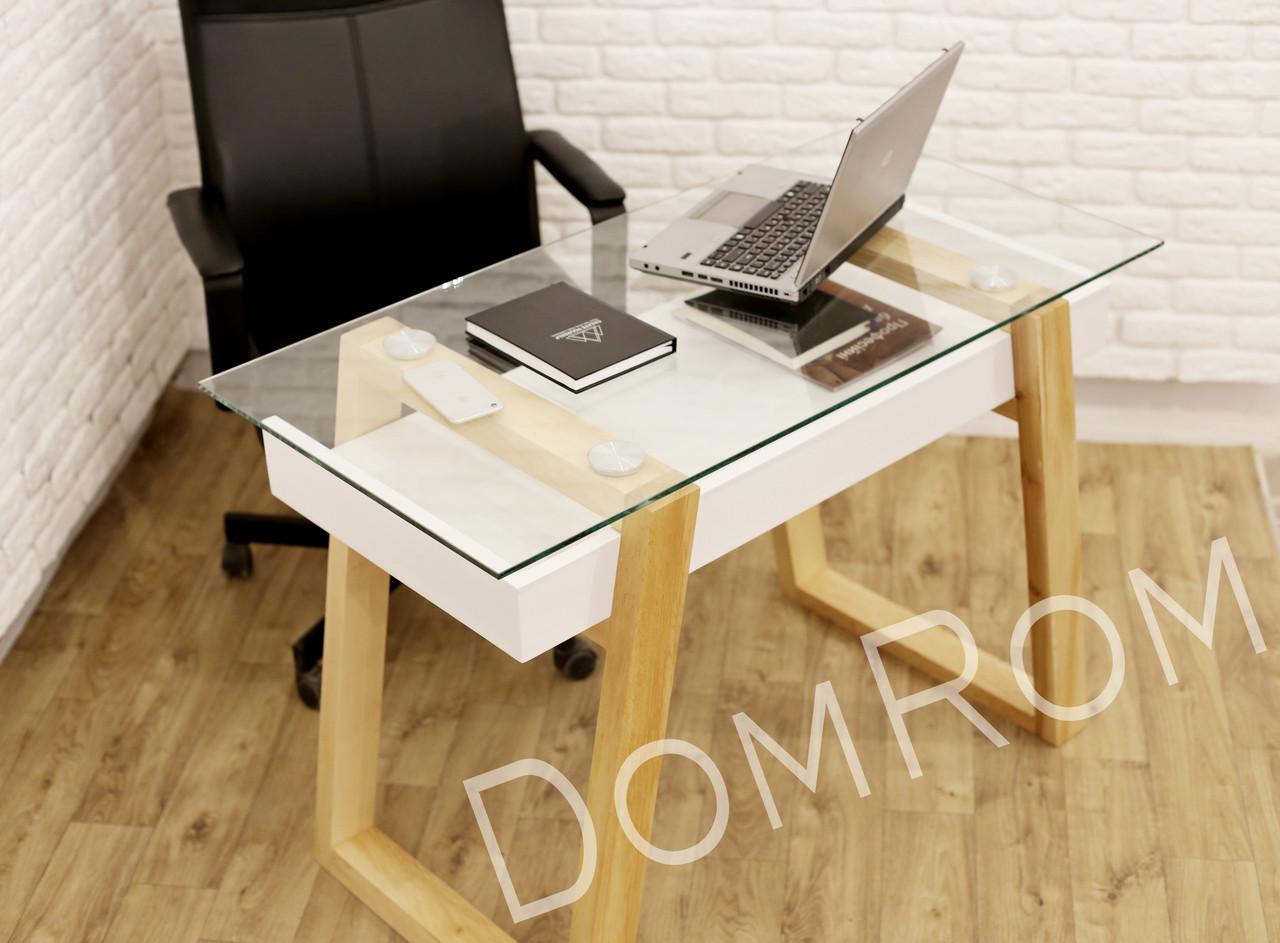 """Современный стол  """"Белуччи"""" из стекла и дерева в стиле loft"""