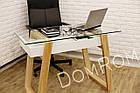 """Сучасний стіл """"Белуччі"""" зі скла і дерева в стилі loft, фото 5"""