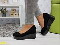 Туфли замшевые размеры 36,38,40 на высокой платформе с танкеткой К896, фото 1