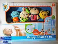 Детская карусель мобиль на кроватку, подвески 4шт, музыка, на батарейке, в коробке (D098)