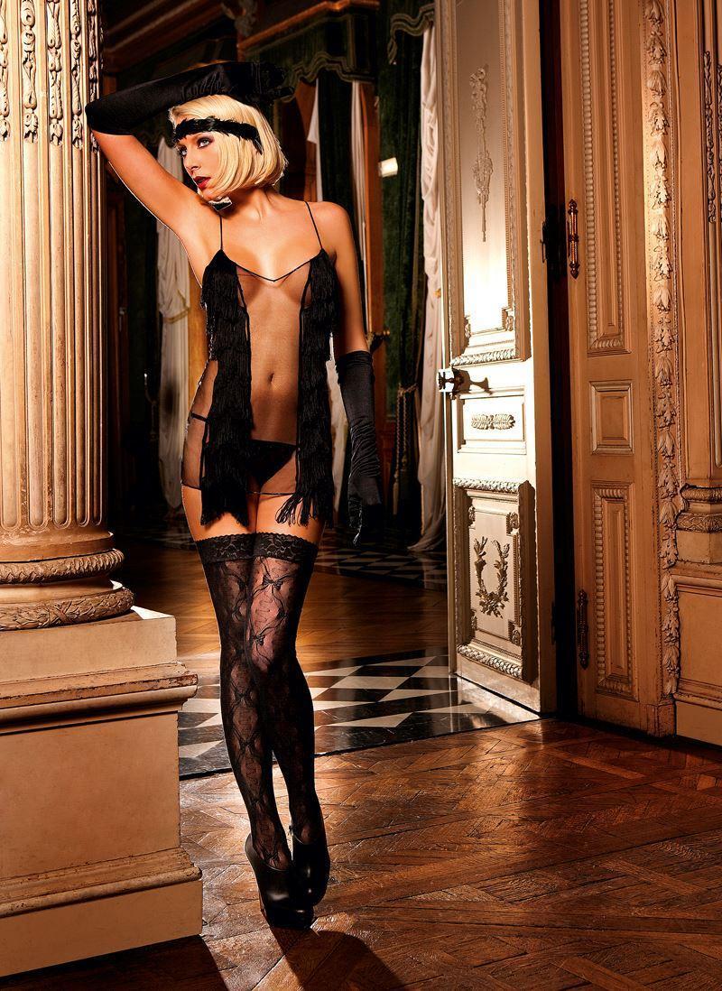 Высокие чулки Lace Top Bow Lace Thigh High от BACI Lingerie