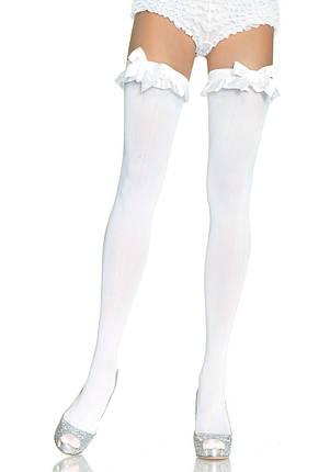 Высокие белые чулки с бантиком Opaque Thigh Highs With Bow от Leg Avenue, фото 2