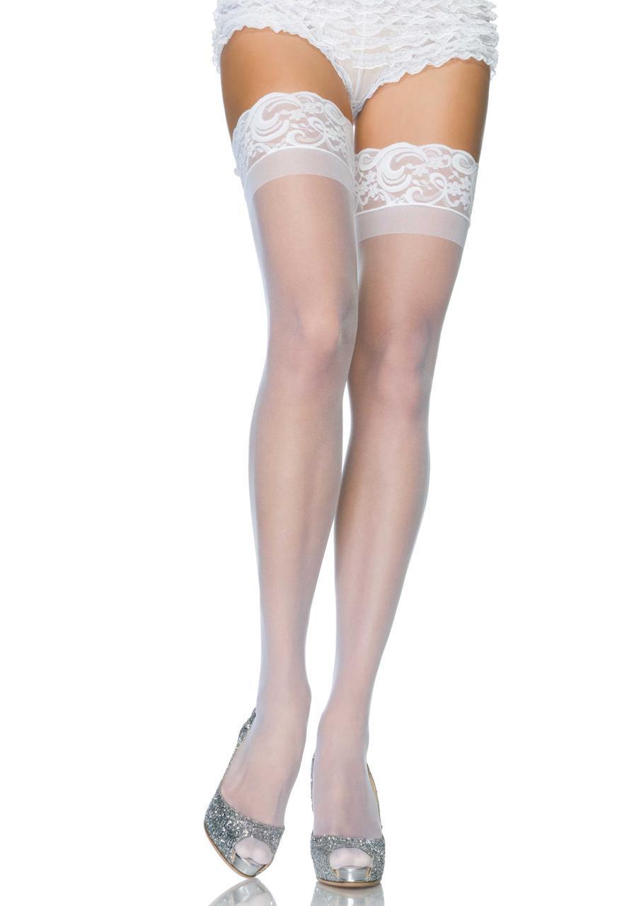 Високі білі панчохи Stay Up Sheer Thigh Highs від Leg Avenue