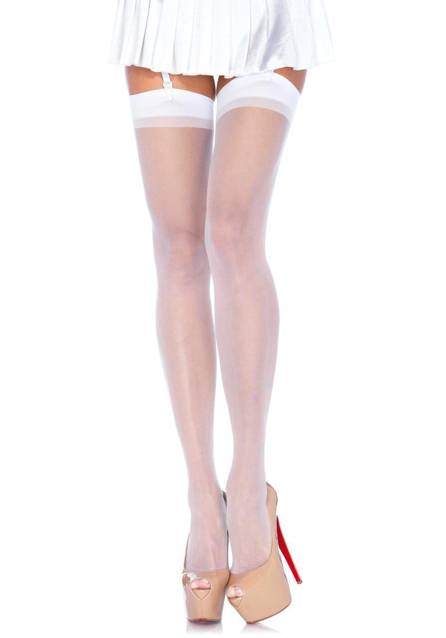 Высокие белые чулки Sheer Stockings от Leg Avenue
