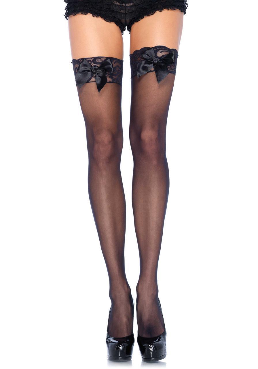Высокие черные чулки с кружевом и бантиком Sheer Thigh Highs Lace Top от Leg Avenue