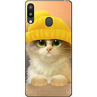Чехол силиконовый для Samsung M20 с рисунком Котик в шапке