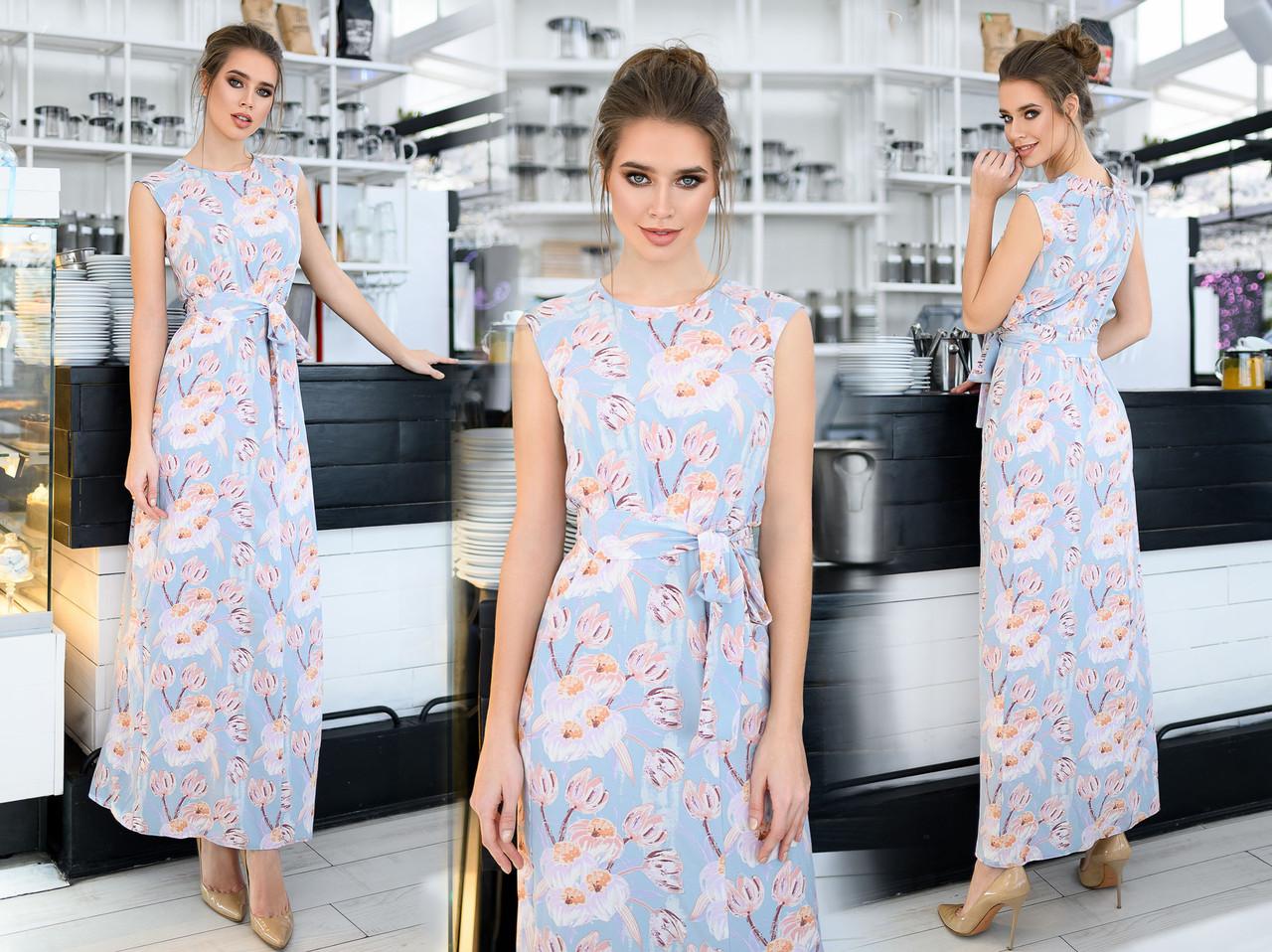 """Элегантное длинное женское платье до больших размеров 1371 """"Софт Пастель Цветы Кармашки"""" в расцветках"""