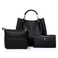 Набор женских сумок 4 в1 черный из качественной экокожи, черный, фото 1