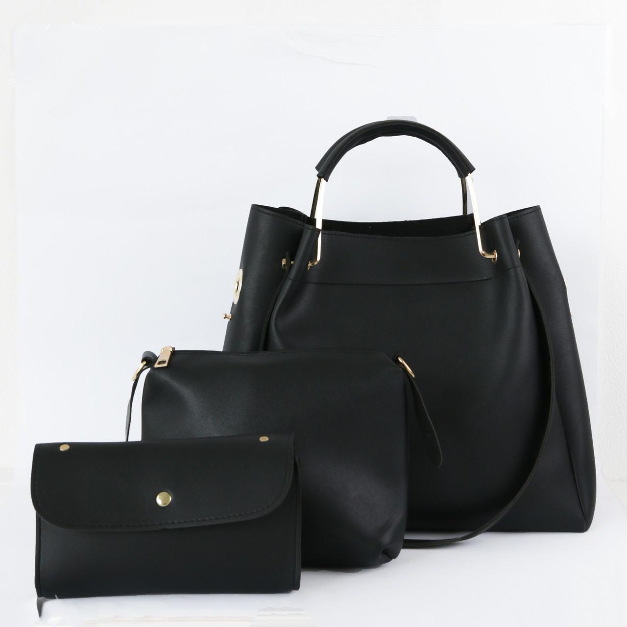 ada26ae18750 Набор женских сумок 3в1 черный из качественной экокожи - ModaShop в Киеве
