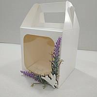 """Коробка для кулича, пряничного домика, подарка с декором """"Лаванда"""" 130х130х140 мм, фото 1"""