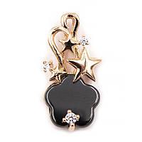 Подвеска керамическая - черный цветочек с металической звездочкой