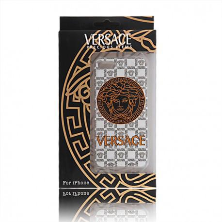 Чехол Накладка Versace для iPhone 5/5S белый infinity