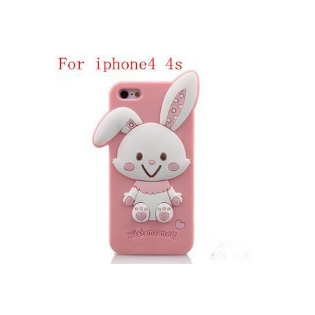 Силиконовый Чехол Rabbit Wish me mell на IPhone 4/4S Розовый infinity