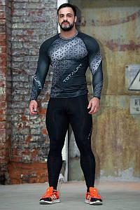 Рашгард мужской с длинным рукавом Totalfit RM311 S Серый с черным