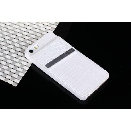 Чехол накладка кожаная QY для iPhone 5/5S Белая infinity