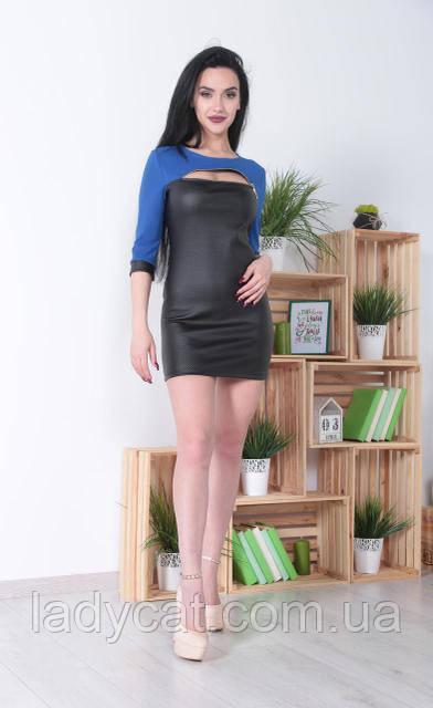 be8d6c2815b Молодежное мини платье из экокожи со змейкой на груди цвет Электрик -