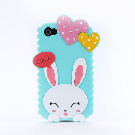 Чехол Cute Heart Hello Rabbit Зеленый для IPhone 5/5S infinity
