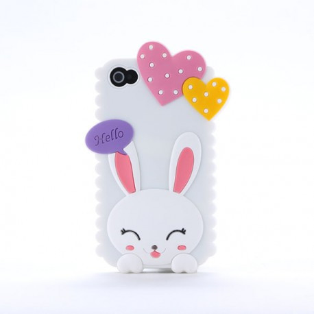 Чехол Cute Heart Hello Rabbit Белый для IPhone 5/5S infinity