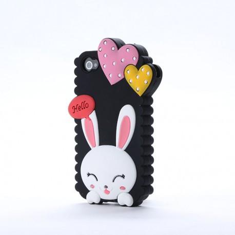Чехол Cute Heart Hello Rabbit Черный для IPhone 5/5S infinity