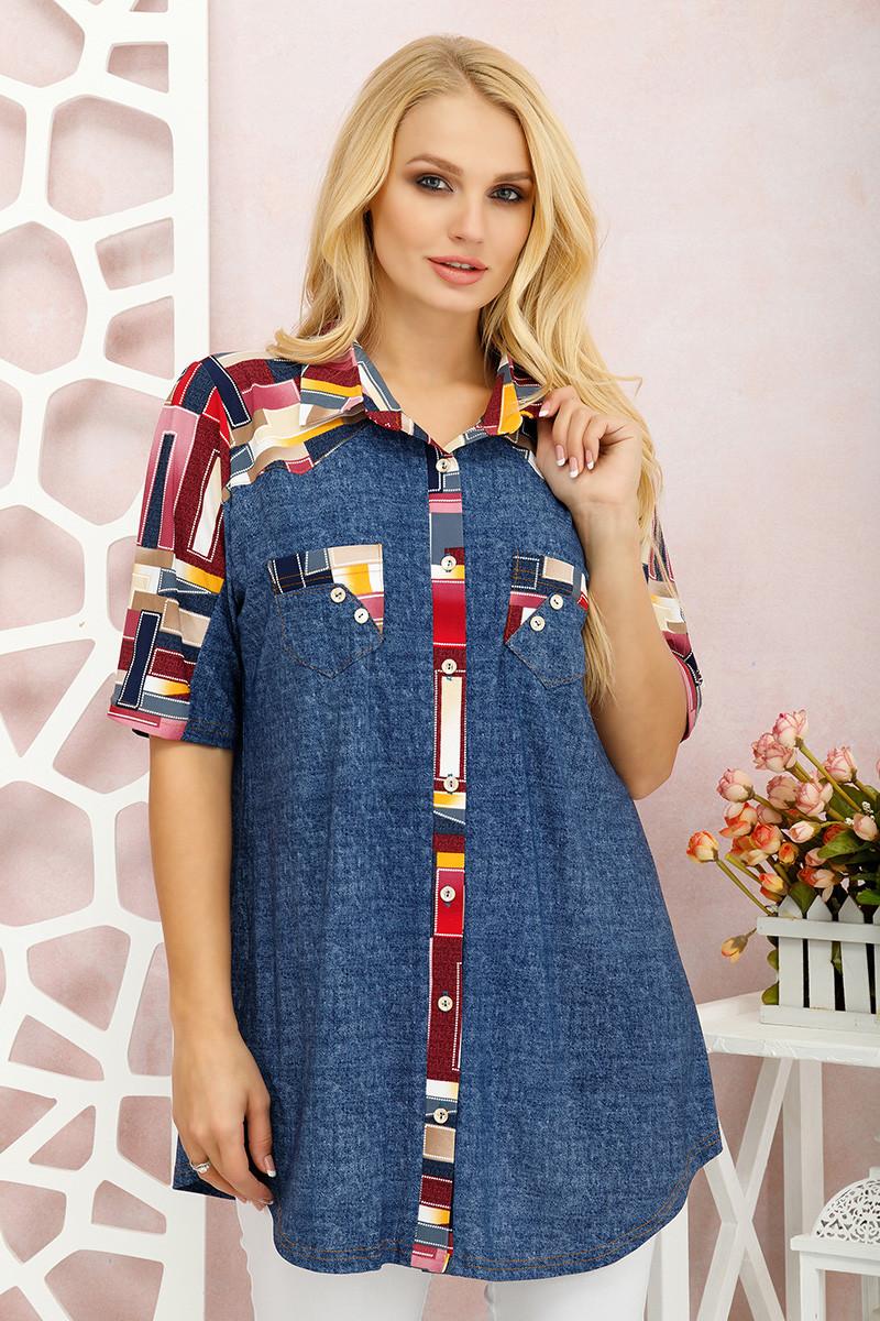 Туніка-вільна сорочка для великих жінок Симона