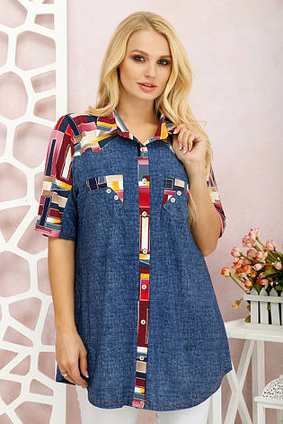 Туніка-вільна сорочка для великих жінок Симона, фото 2