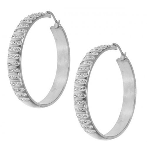 Серьги кольца из стали с камнями 42 мм 101957