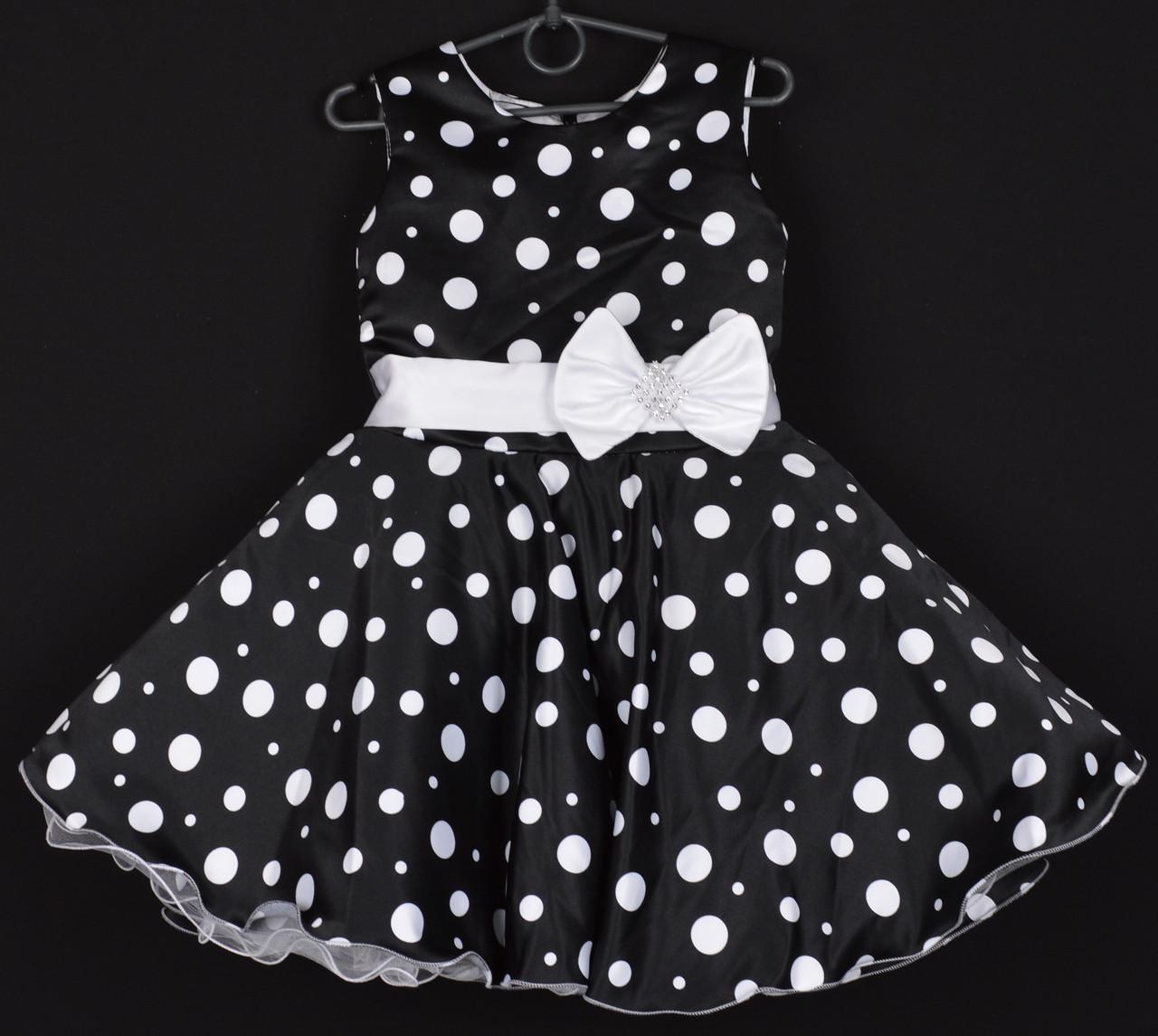 """Платье нарядное детское """"Лиза"""". 6-7 лет. Черное в белый горошек. Оптом и в розницу"""