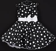 """Платье нарядное детское """"Лиза"""". 6-7 лет. Черное в белый горошек. Оптом и в розницу, фото 1"""