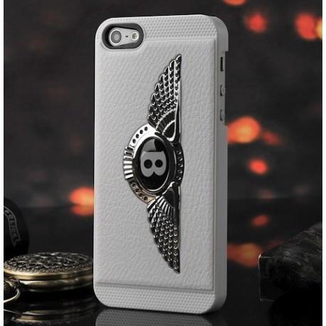 Чехол Накладка  Bentley белая c серым логотипом для iPhone 5/5S infinity