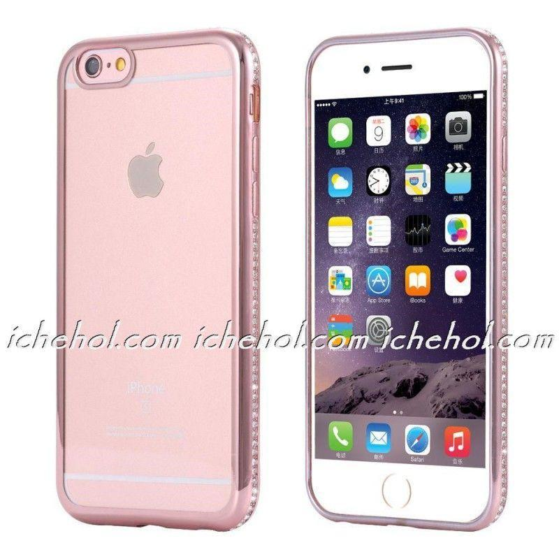 Силиконовый чехол со стразами розового цвета для Iphone 6/6s+ infinity