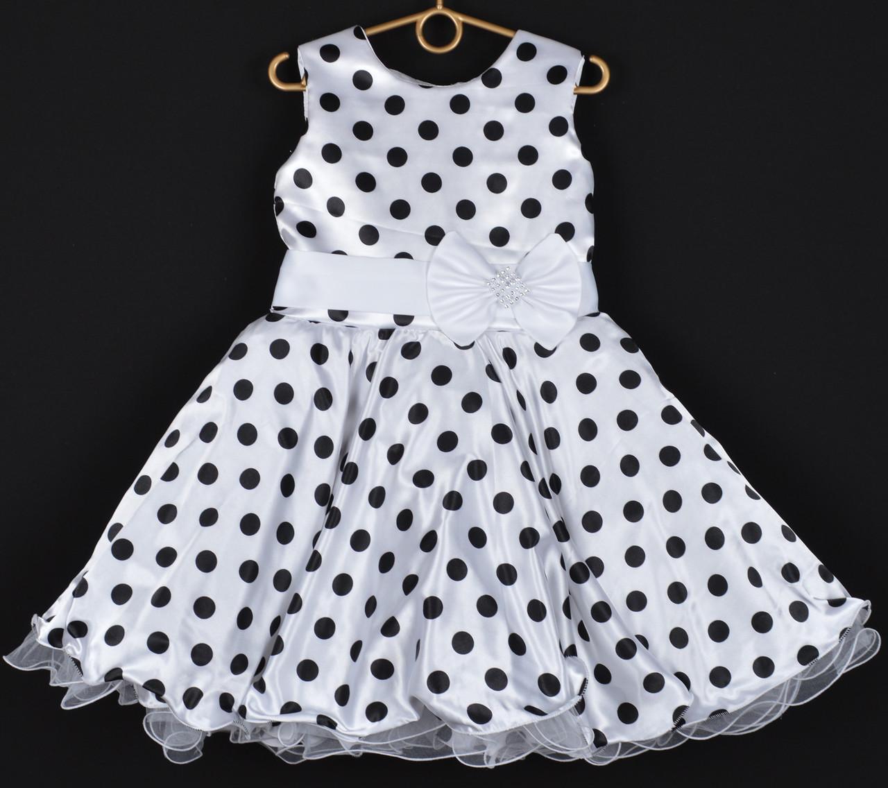 """Платье нарядное детское """"Лиза"""". 6-7 лет. Белое в черный горошек и белой лентой. Оптом и в розницу"""