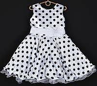 """Платье нарядное детское """"Лиза"""". 6-7 лет. Белое в черный горошек и белой лентой. Оптом и в розницу, фото 1"""