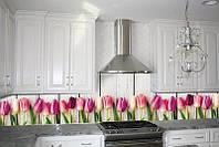 Кухонный фартук Тюльпаны, (полноцветная фотопечать, стеновая панель для кухни) 650*2500 мм