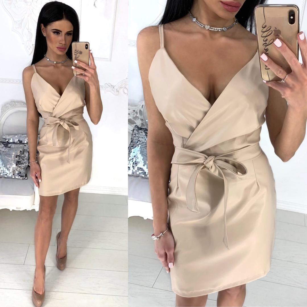 657effe0b129b7e Купить Стильное женское платье из экокожи на поясе от надежного ...