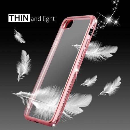 Силиконовый чехол со стразами  для Iphone 7 Plus Розовое золото infinity