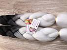 🖤 Канекалон чёрный-белый, косы для впелетения в волосы, разнообразные причёски 🖤, фото 3