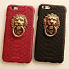 Чехол со львом и кольцом под кожу питона для iPhone 7 Plus Черный infinity, фото 6