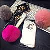 Зеркальный силиконовый чехол с Розовым помпоном для  iPhone 7 Серебристый infinity, фото 2
